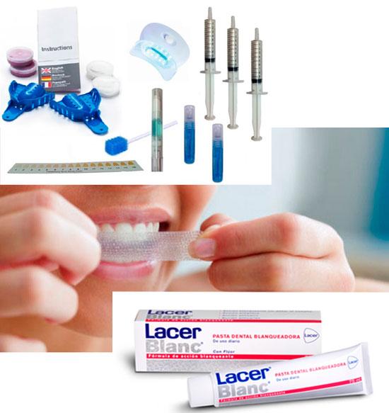 Diferentes kits comerciales de venta libre de blanqueamiento dental para hacer en casa